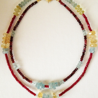 Advanced Necklace Workshop Design with Aquamarine, Ruby Quartz, and Citrine