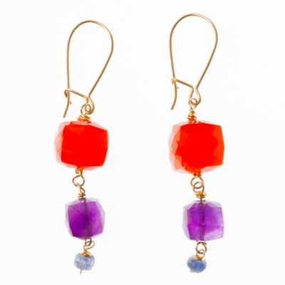 Beginner Earrings with Carnelian Amethyst Drop Design