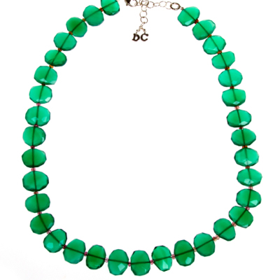 Beginner Necklace Design with Green Gemstones