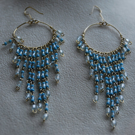 Chandelier Earrings Design with Blue Crystals from Specific Skills Class
