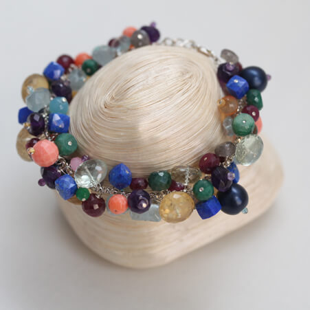 Cluster Bracelet Design with Mixed Gemstones from Specfic Skills Class