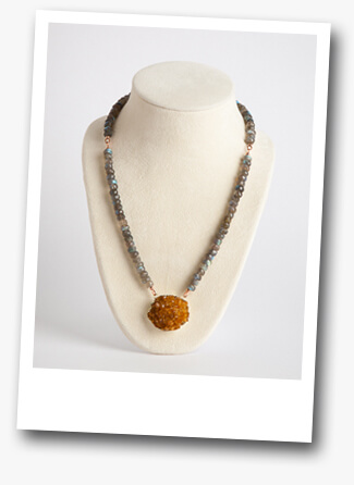 Handmade Gemstone Necklace with Labrdorite and Citrine by Modnitsa Atelier Jewelry