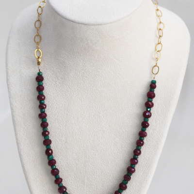 Intermediate Necklace Chain and Stone Design with Emerald, Rubies and Gold