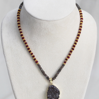 Beginner Strung Necklace Design with Drusy, Rubies and Labradorites