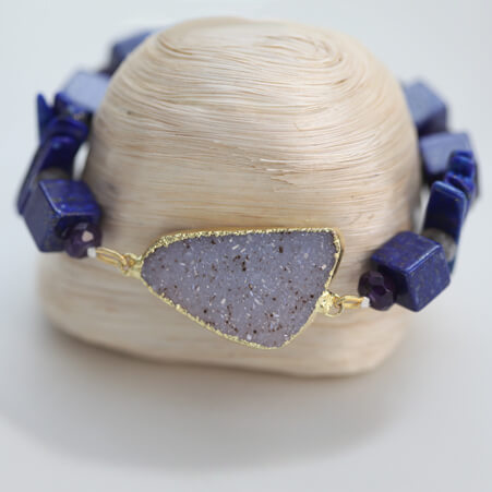 Bracelet Design with Lapis, Lazuli, Drusy and Gold from Specfic Skills Class
