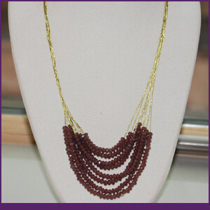 Silk Thread Necklace with Gold and Crystals from Specific Skills Jewelry Class